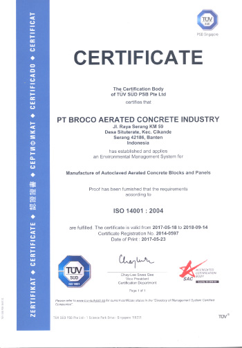 Broco AAC Panel certificate